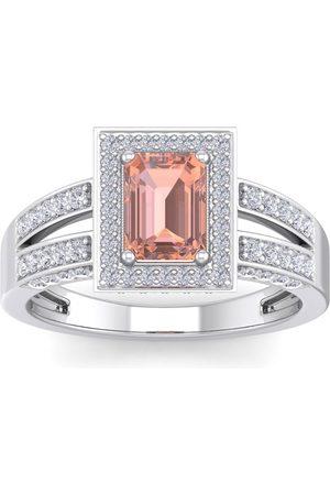 SuperJeweler 1.5 Carat Emerald Cut Morganite & Halo 74 Diamond Ring in 14K (5.60 g)