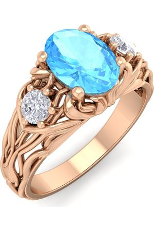 SuperJeweler 1 1/5 Carat Oval Shape Blue Topaz & Diamond Intricate Vine Engagement Ring in 14K (5.50 g)