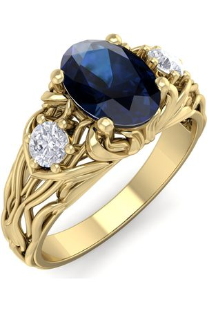 SuperJeweler 1 1/5 Carat Oval Shape Sapphire & Diamond Intricate Vine Engagement Ring in 14K (5.50 g)