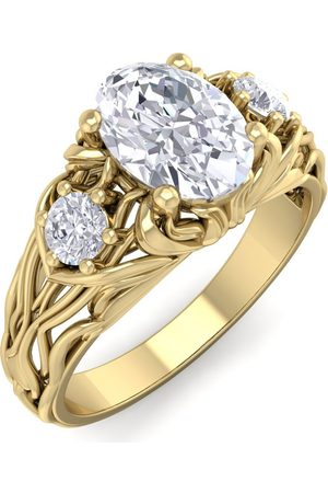 SuperJeweler 1 1/5 Carat Oval Shape Diamond Intricate Vine Engagement Ring in 14K (5.50 g) (