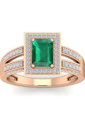 SuperJeweler 1.5 Carat Emerald Cut Emerald & Halo 74 Diamond Ring in 14K (5.60 g)