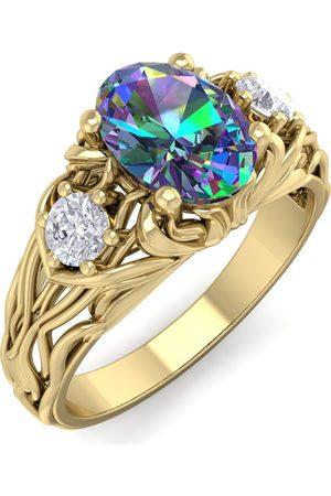 SuperJeweler 1 Carat Oval Shape Mystic Topaz & Diamond Intricate Vine Engagement Ring in 14K (5.50 g)