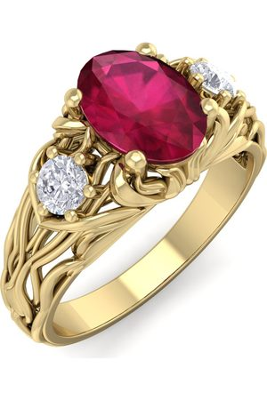 SuperJeweler 1 1/10 Carat Oval Shape Ruby & Diamond Intricate Vine Engagement Ring in 14K (5.50 g)