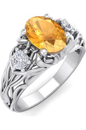 SuperJeweler 1 Carat Oval Shape Citrine & Diamond Intricate Vine Engagement Ring in 14K (5.50 g)