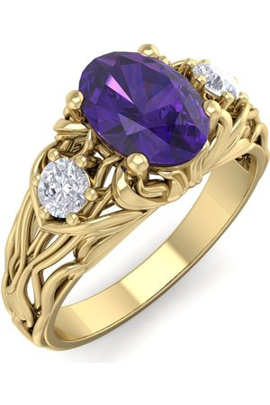 SuperJeweler 1 Carat Oval Shape Amethyst & Diamond Intricate Vine Engagement Ring in 14K (5.50 g)