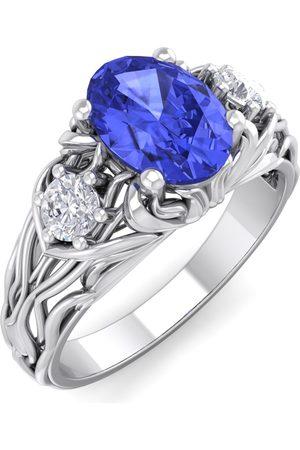 SuperJeweler 1 1/10 Carat Oval Shape Tanzanite & Diamond Intricate Vine Engagement Ring in 14K (5.50 g)