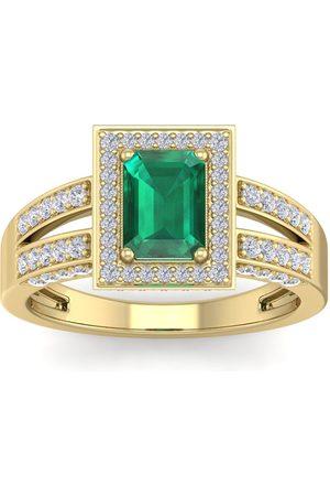 SuperJeweler Women Rings - 1.5 Carat Emerald Cut Emerald & Halo 74 Diamond Ring in 14K (5.60 g)
