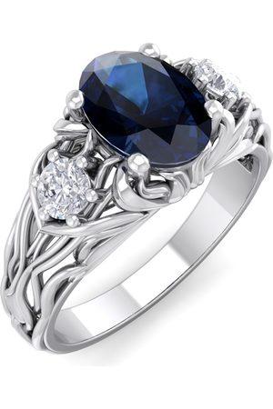 SuperJeweler Women Rings - 1 1/5 Carat Oval Shape Sapphire & Diamond Intricate Vine Engagement Ring in 14K (5.50 g)