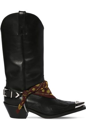 VERSACE 70mm Camperos Leather Cowboy Boots