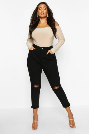 Boohoo Womens Plus High Waist Rip Knee Mom Jean - - 12
