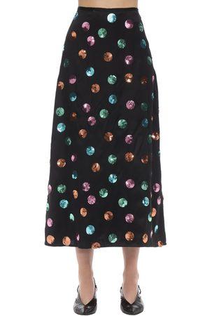 RIXO London Kelly Sequined Polka Dot Satin Skirt