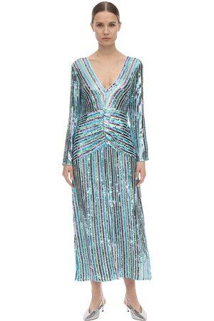 RIXO London Emmy Sequined Viscose Midi Dress