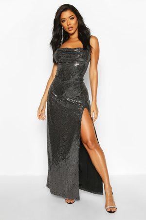 Boohoo Womens Sequin Cowl Neck High Split Maxi Dress - - 2
