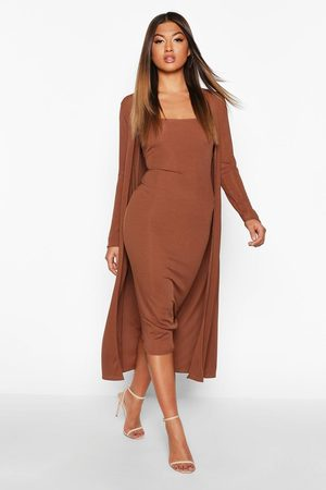 Boohoo Womens Ribbed Midi Dress & Duster Set - - 4