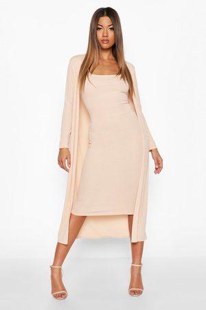 Boohoo Womens Ribbed Midi Dress & Duster Set - - 4
