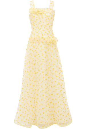 RODARTE Flocked Heart Print Dropped Waist Tulle Maxi Dress - Womens