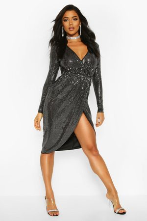 Boohoo Womens Sequin Wrap Plunge Midi Dress - - 2