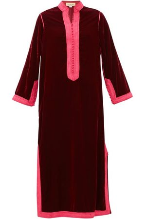 Muzungu Sisters Alia Woven-trim Velvet Tunic Dress - Womens - Dark