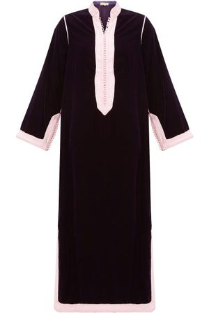 Muzungu Sisters Women Tunic Dresses - Alia Woven-trim Velvet Tunic Dress - Womens - Dark Maroon