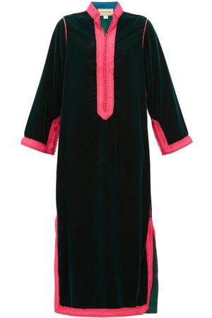 Muzungu Sisters Women Tunic Dresses - Alia Woven-trim Velvet Tunic Dress - Womens - Dark