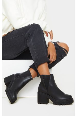 PRETTYLITTLETHING Wide Fit Cleated Chunky Chelsea Boot