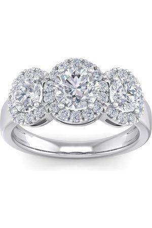 SuperJeweler Women Rings - 2.5 Carat Round Shape Halo Diamond Three Stone Engagement Ring in 14K (4.30 g) (