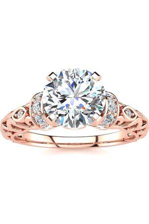 SuperJeweler Women Rings - 1.25 Carat Vintage Moissanite Engagement Ring in 14K (3.20 g)
