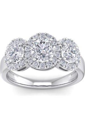 SuperJeweler 2.5 Carat Round Shape Halo Diamond Three Stone Engagement Ring in 14K (4.30 g) (