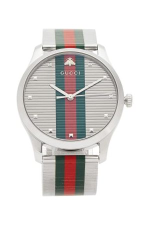 Gucci Men Watches - G Timeless Web Stripe Stainless Steel Watch - Mens - Multi