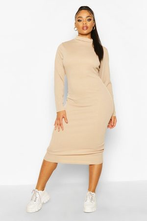 Boohoo Womens Plus Rib Knit Turtleneck Midi Dress - - 12