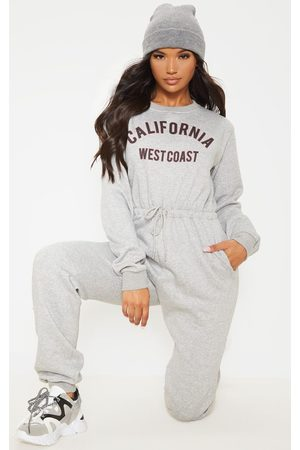 PRETTYLITTLETHING Grey California Long Sleeve Sweat Jumpsuit
