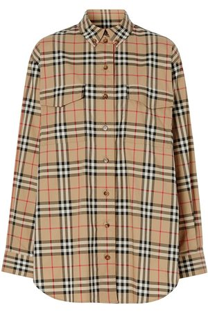 Burberry Vintage Check Stretch Cotton Oversized Shirt - Neutrals