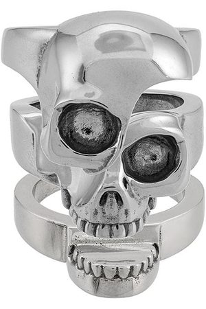 Alexander McQueen Divided skull ring - Metallic