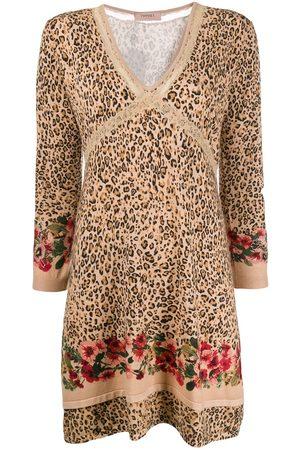 Twin-Set V-neck leopard print dress