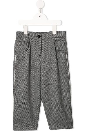 Emporio Armani Kids Girls Formal Pants - Zigzag patterned tailored trousers - Grey