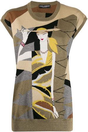Dolce & Gabbana Women Tank Tops - Lurex intarsia knit sweater vest
