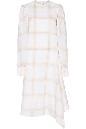 Calvin Klein Check print silk midi dress - Neutrals