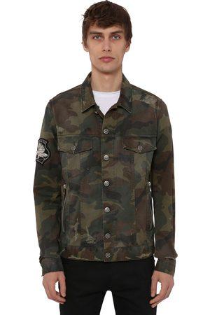 Balmain Camo Cotton Denim Jacket W/ Patch