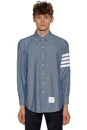 Thom Browne Men Shirts - Printed Chambray Cotton Shirt W/ Stripes