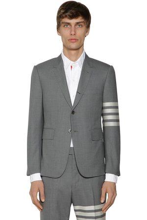 Thom Browne Men Blazers - Classic Fit Wool Jacket W/ 4 Stripes