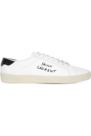 Saint Laurent Logo Embroidery Leather Sneakers