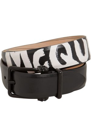 Alexander McQueen 4cm Reversibile Logo Leather Belt