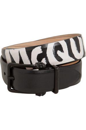 Alexander McQueen 4cm Reversibile Logo Leather Belt