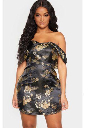 PRETTYLITTLETHING Shape Oriental Bardot Bodycon Dress
