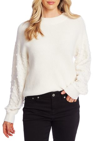CE&CE Women's Puff Sleeve Bobble Ribbed Sweater