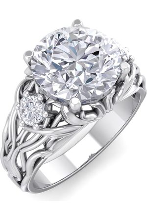 SuperJeweler Women Rings - 3 1/4 Carat Round Shape Diamond Intricate Vine Engagement Ring in 14K (7 g) (