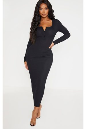 PRETTYLITTLETHING Women Dresses - Shape Ribbed Button Front Long Sleeve Midaxi Dress