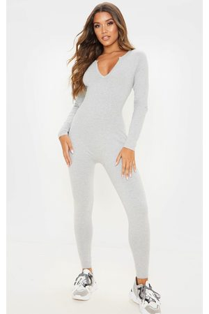 PRETTYLITTLETHING Grey Seamless Cotton Elastane V Neck Jumpsuit