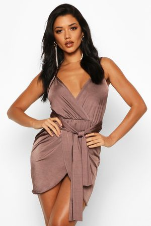 Boohoo Womens Wrap Belted Bodycon Dress - - 2