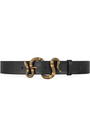 Gucci Leather belt with snake buckle